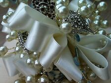 IVORY PEARLS DIAMONTE BROOCHES VINTAGE BOUQUET SATIN BRIDES POSY