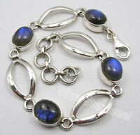 "925 Sterling Silver Amazing BLUE FIRE LABRADORITE STUNNING Bracelet 7.7"""
