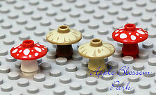 NEW Lego Lot/4 Minifig MUSHROOMS Red & White/Tan & Brown Hobbit Minifigure Plant