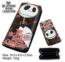 The Nightmare Before Christmas Wallet Black Pocket  Clutch Long Zip Purse