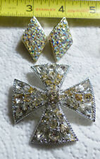 Very Nice Emmons Maltese Rhinestone Brooch and Aurora Borealis Clip Earrings