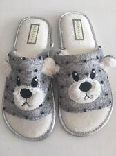 Ladies Grey Bear Slip On Mule Style Slippers Size 7-8 Super Cute  Gift