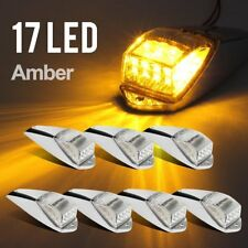 7X 17LED Clear/Yellow Cab Roof Marker Light Chrome for Peterbilt Freightliner