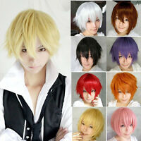 11Colors Men Boy Short Straight Hair Wig Anime Party Cosplay Full Wigs 2017 HOT