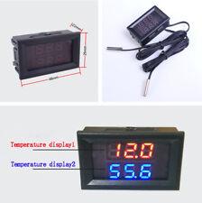 Dual Digital Intercooler Supercharger Temperature Gauge Sensor Red+Blue Display