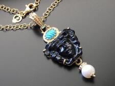 TAGLIAMONTE Necklace YGP/SS BLACK Medusa VENETIAN CAMEO+TURQUOISE+PEARL