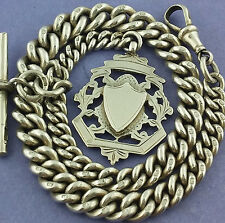 Victorian Antique Hallmarked Solid Silver Albert Pocket Watch Chain W Fob c1895