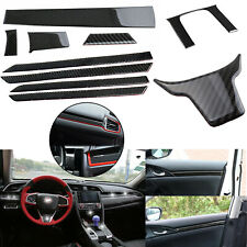 Carbon Fiber 3D Inner Full Decor Cover Trim Stickers For Honda Civic 2016-2020