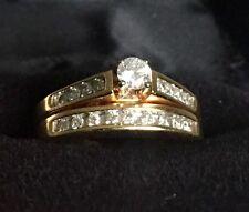 14k Yellow Gold / .25 Carat Diamond Engagement Ring / Wedding Band Dual Set