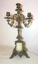 antique ornate gilt bronze alabaster grape vine candelabra candle stick holder