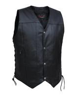Mens Leather 10-Pocket Vest Motorcycle Biker Club Concealed Carry Side Laces