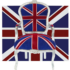 ENGLAND SITZMÖBEL LUXUS COMFORT UK-CHAIR BAROCK STUHL UNION-JACK DESIGN silbern