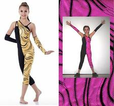 Mystifying Dance Costume Capri Unitard w/ Mitts Gold or Fuchsia Clearance Acro