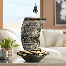 """Zen Indoor Tabletop Water Fountain with Light 17 1/4"""" Waterfall for Table Desk"""
