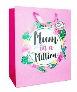 🎁 Luxury Mothers Day Gift Bag Mum with Handles Present Pink Floral Design Party