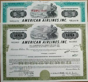 'American Airlines, Inc.'1970s  Bond/Stock Certificates Aviation - TWO DIFFERENT