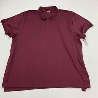 Basic Editions Polo Shirt Mens 5XL Maroon Polyester Short Sleeve Casual Golf