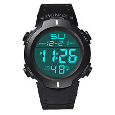 Fashion Waterproof Men's LCD Digital Stopwatch Date Rubber Boy Sport Wrist Watch