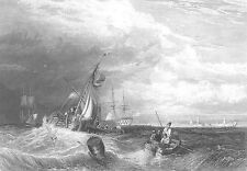 PORTSMOUTH HARBOUR Sailboat Warships Galleon Storm ~ 1868 Art Print Engraving