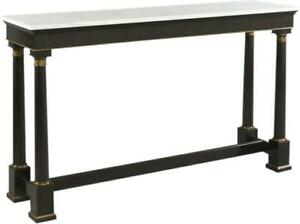 WOODBRIDGE CONSOLE GOLD ACCENTS ONYX BLACK MARBLE TOP