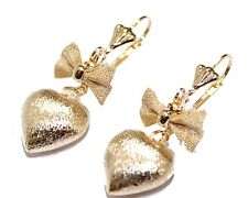 Bow Heart Leverback Earring 18k Gold Plated Dangle Earrings - Love Earring