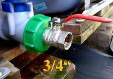 """Raccord S60x6 avec robinet 3/4"""" laiton chromé pour cuve 1000L eau pluie IBC GRV"""