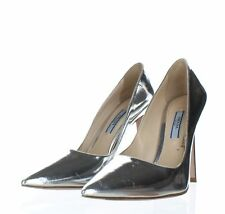 1054 Prada Silver Metallic Leather Pointed Toe Pumps Women's Sz 38 M