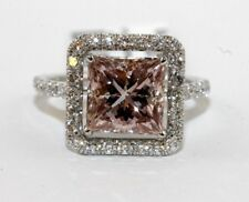 3.92Ct VS1 Princess Cut Pink Diamond Engagement Solitaire Ring 18k White Gold