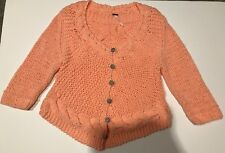 Free People Twisted Cardigan Melon Sweater Black and White Gingham Buttons - Lg