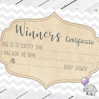 Baby Shower Winners Certificates Baby Shower Games Keepsake Unisex Mum Favour