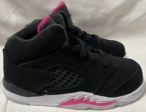 Nike Toddler Air Jordan 5 Retro (GT) Black/Pink 725172-029. Toddler Size: 8C
