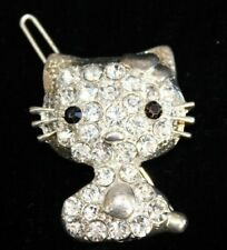 "Hello Kitty Jeweled clip Clear jewels w/black jeweled eyes 1 1/2"" tall So Cute!"