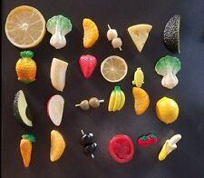 LOT OF 24  VINTAGE FOOD FRUIT VEGETABLES  MAGNETS RUBBER PLASTIC RESIN