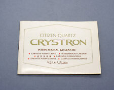 New old stock CITIZEN CRYSTRON guarantee warranty booklet 60/70s blank NOS