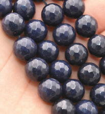 Natural 10mm Faceted DARK Blue Sapphire Gems Loose Beads 15'' AAA