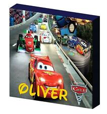 PERSONALISED DISNEY CARS 2 race lightening mcqueen CANVAS PICTURE