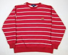 VTG 90s Ralph Lauren Striped Sweatshirt M Polo Cross Flags Sailing 92 93 USA 80s