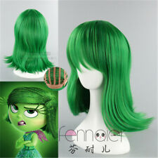 Halloween Wig Costume Inside Out Disgust Green Cosplay Heat Resistant Hair