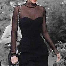 Black Sexy Gothic Mesh Fishnet Goth Women's Clothing Blouses Shirt Tops