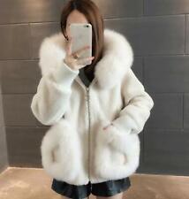 Womens Faux Fox Fur Collar Wool Blend Hooded Coat Outwear Fluffy Warm Winter New