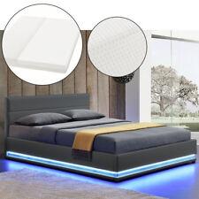 Polsterbett Kunstlederbett  mit LED Bettgestell Matratze Bettkasten 140 x 200 cm