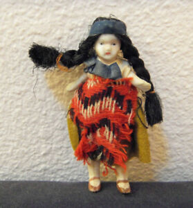 old 30's miniature bisque jointed Native American doll - fully dressed all origi