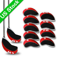 11x Neoprene Golf Club Iron Cover Headcover For Taylormade Mizuno Ping Black/Red