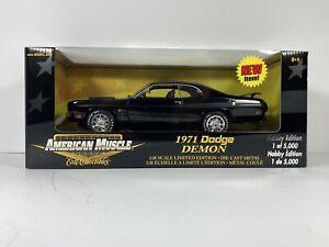 AMERICAN MUSCLE BLACK 1971 DODGE DEMON ERTL 1:18 SCALE DIECAST METAL MODEL CAR