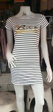 White/Black Striped Long Cami Stretch Cup Sleeve  Tank TOP Tunic Mini Dress 8-10