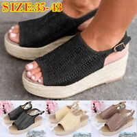 Women Weaving Wedge Platform Sandals Fish Mouth Ankle Strape Shoes Plus Size UK