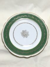 """Imperial Crown China Austria Plate Green & Gold Scalloped Edge Greek Key 8 1/2"""""""