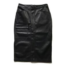 ASOS Faux Leather Midi Pencil Skirt Black Pocket Detail UK 12 K1