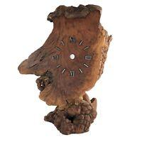 "Burl Wood Clock Part Mantel 10"" Vtg Mid Century Repair Restore DYI"