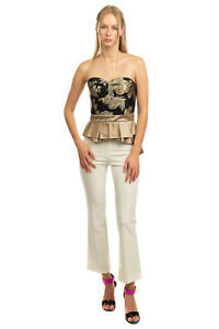 RRP€230 CHRISTIAN PELLIZZARI Bustier Top Size IT 42 / S Satin Trim Made in Italy